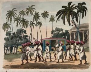 view A group of men in turbans are carrying a litter, and attending to their passenger. Coloured aquatint by J. Wells after C. Gold.