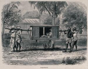 view A European man in India (?) being carried in a litter on the shoulders of four men. Wood engraving by A.F. Pannemaker.