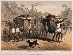view A bride and a bridegroom talking to one another as they are carried separately in sedan chairs. Tinted lithograph by F. Jones, 1860, after G.F. Atkinson.