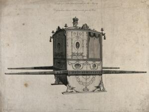view An ornate sedan chair with a state crown on top. Engraving by P. Begbie, 1775, after R. Adam, 1771.
