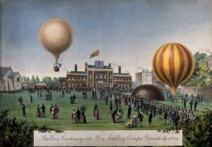 view Crowds gather at the parade ground of the Honourable Artillery Company to watch two hot-air balloons. Gouache.