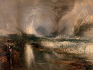 view People watching flares warning steamboats that they are approaching shallow waters. Chromolithograph by Robert Carrick after J.M.W. Turner.