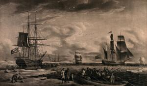 view Whaling: sailors arriving at Greenland to kill whales, their ships being out at sea. Aquatint by R. Dodd, 1789.