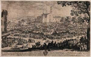 view Crowds of people are in an open area at Impruneta, Tuscany, buying goods from stalls set under awnings. Etching by Jacques Callot.