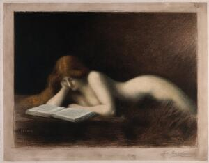 view A woman with long red hair is lying down reading a book. Coloured mezzotint by C.R. Thévenin after J.J. Henner.