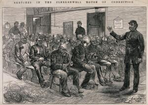 """view Men sitting on long benches in a large room untangling bundles of twine, """"picking oakum"""": a guard raises his hand. Wood engraving."""