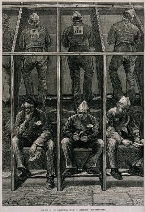 view Middlesex House of Correction: male prisoners treading on the boards of a treadmill: in the foreground others sit resting. Wood engraving by W.B. Gardner, 1874, after M. Fitzgerald.