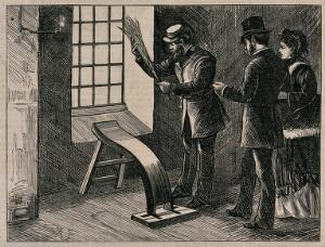 view Middlesex House of Correction: a man is holding a birch in his hand as he stands over a shaped wooden plank set near a window for flogging boys; a man and a woman look on. Wood engraving after M. Fitzgerald, 1874..