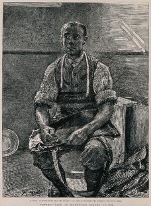 view A convict sitting in a bare room on a stool with some work in his hands. Lithograph by Paul Renouard.