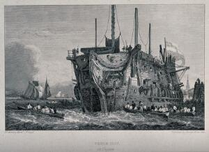 view A prison ship in the River Thames at Deptford: rowing boats convey prisoners between land and the ship. Engraving by George Cooke after Samuel Prout.