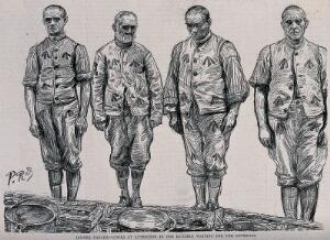 view Wormwood Scrubs prison, London: four cooks in prison uniform standing in a line in front of buckets and baskets. Process print after P. Renouard, 1889.