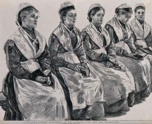 view Woking Convict Invalid Prison: five women prisoners convicted of infanticide. Process print after Paul Renouard, 1889.