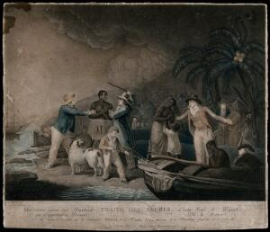 view Slave traders have arrived on an island to enslave some of its black inhabitants, one distraught man is in a boat, another is being threatened with a knife. Coloured stipple engraving by Citoyenne. Rollet after George Morland.