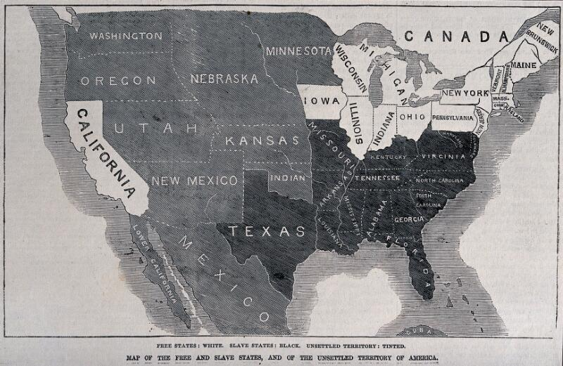 A Map Of The Free And Slave States And Of The Unsettled Territory