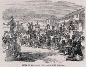 view A group of male slaves sit on the ground as men in coats and top hats walk behind organizing them. Wood engraving.