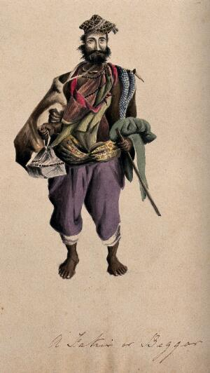 view A barefoot man wearing a cloak, hat and beads: he is carrying a stick. Watercolour.