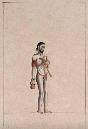 view A Hindu ascetic or holy man: standing, wearing a saffron loincloth and carrying a kamandal (sacred pot), a bowl (?) and an asho (wooden handrest). Drawing, ca. 1880 (?).