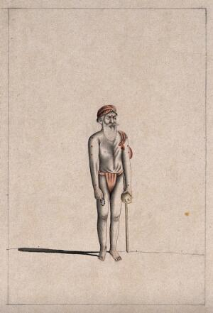 view An old Hindu ascetic or holy man: standing, wearing a saffron loincloth and turban and carrying a cloth bundle, pot and beads. Drawing, ca. 1880 (?).