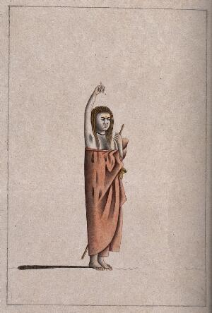 view A Hindu ascetic or holy man: standing, with his right arm raised above his head. Drawing, ca. 1880 (?).