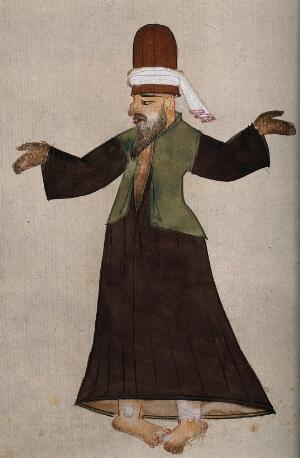 view A Mevlevi, or whirling dervish, performing a ritual mystic dance. Drawing, ca. 1850 (?).