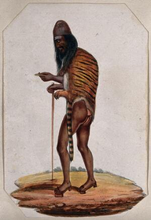 view A Hindu ascetic or holy man: walking, wearing a cap, loincloth, tigerskin and raised sandals (pattens). Gouache painting, ca. 1880 (?).