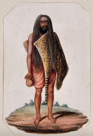 view A Hindu ascetic or holy man: standing, wearing a short saffron robe and tigerskin. Gouache painting, ca. 1880 (?).