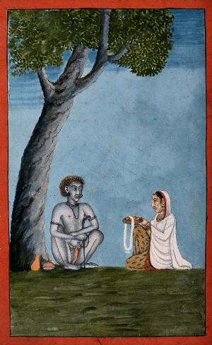 view A Hindu ascetic or holy man, seated under a tree, receiving food from a kneeling woman. Gouache painting by an artist of Thanjavur (Tanjore), ca. 1800 (?).