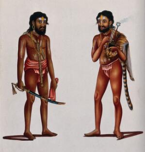 view Two Hindu ascetics or holy men, one holding a sword in a scabbard (left), the other smoking a hookah (right). Gouache painting, ca. 1880 (?).