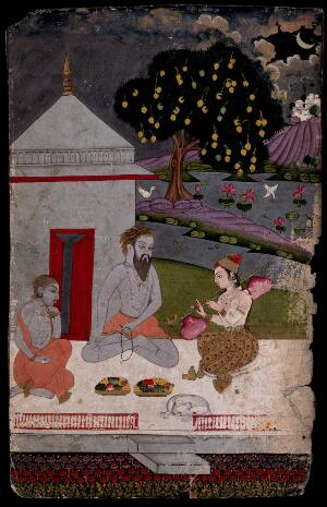 view Two Hindu ascetics or holy men, seated on a verandah by moonlight, listen to music played by a deity (?) on a vina. Gouache painting, ca. 1880 (?).