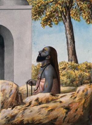 view A Hindu ascetic or holy man, left profile view, meditating outside a temple (?). Watercolour, ca. 1880 (?).
