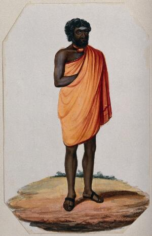 view A Hindu ascetic or holy man: standing, wearing a short saffron robe and sandals. Gouache painting, ca. 1880 (?).