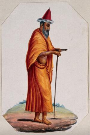 view A Mevlevi (?), or Sufi holy man: walking, wearing a saffron cloak and skirt, and a tall red conical hat. Gouache painting, ca. 1880 (?).