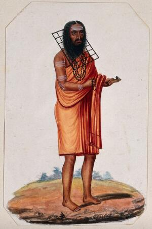 view A Hindu ascetic or holy man: standing, wearing a saffron robe and with a metal rack (?) placed around his neck. Gouache painting, ca. 1880 (?).