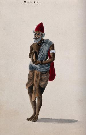 view A Hindu ascetic or holy man: standing, playing a tambourine. Watercolour, ca. 1880 (?).