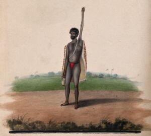 view A Hindu ascetic or holy man: standing, with withered left arm raised over his head, and overgrown fingernails. Watercolour, ca. 1880 (?).