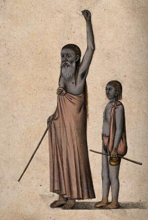view An old Hindu ascetic or holy man: standing, with left arm raised above his head, accompanied by a young boy. Watercolour, ca. 1880 (?).