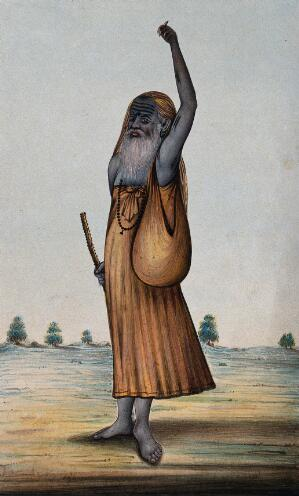 view An old Hindu ascetic or holy man: standing, with left arm raised above his head, and overgrown fingernails. Gouache painting, ca. 1880 (?).