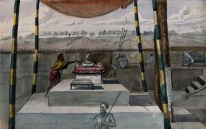 view A man tends a Hindu altar on a stepped dais, sheltered by a canopy. Watercolour, ca. 1880 (?).