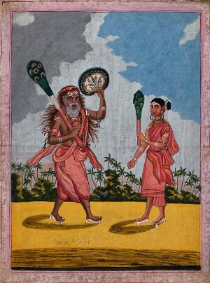 view Two Hindu ascetics: left, a man holding a peacock feather broom and fan; right, a woman holding a peacock feather broom. Gouache painting by an artist of Thanjavur (Tanjore), ca. 1800 (?).