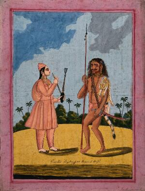 view Two Hindu ascetics: left, a woman wearing saffron robes, brimless hat and slippers and smoking a hookah; right, a barefoot man wearing a saffron loincloth and a tigerskin, and carrying a spear and sword in a scabbard. Gouache painting by an artist of Thanjavur (Tanjore), ca. 1800 (?).