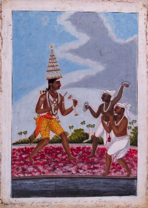 view Three Hindu ascetics walking on burning embers. Gouache painting by an artist of Thanjavur (Tanjore), ca. 1800 (?).