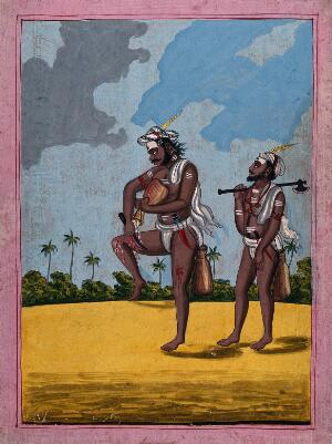 view Two Hindu ascetics or holy men, one performing self-torture. Gouache painting by an artist of Thanjavur (Tanjore), ca. 1800 (?).