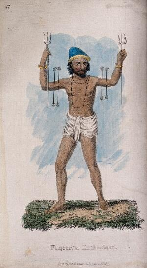view A Hindu ascetic, or holy man: with two rods piercing his upper arms, and holding a trident in each hand. Coloured stipple engraving, 1828.