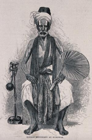 view A Hindu ascetic, or holy man: seated, holding a fan. Etching, ca. 1890 (?).