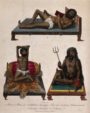 view Three Hindu ascetics, or holy men: above, a man lying on a bed of nails; below left, a man seated in the lotus position with withered arms raised above his head; below right, a man seated in the lotus position holding a trident. Coloured engraving by J. Chapman, 1809.