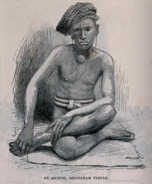 view A Hindu ascetic, or holy man: sitting cross-legged on a mat. Lithograph after J.P. (?), ca. 1890 (?)].