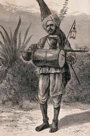 view A Hindu ascetic, or holy man: standing, beating a drum with his left hand and plucking a stringed instrument with his right hand. Wood engraving by M. Klinkicht, 1876.