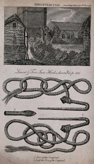 view Hooks, ropes and a lancet used by Hindu ascetics for self-torture. Engraving, 1798.