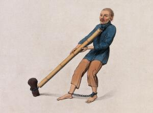 view A Chinese man with bound feet is tied to a stump with a chain. Coloured stipple print by Dadley, 1801.
