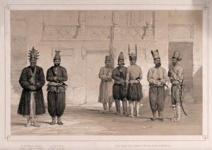 view Afghanistan: the retinue of Shah Shoojau-Ool-Moolk, including his Chief Executioner and a Mutilator. Lithograph by L. Haghe after L.W. Hart, 1843.
